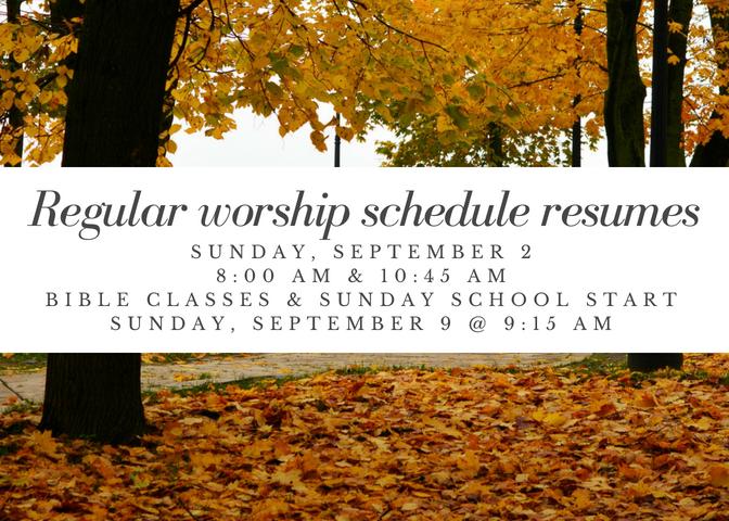 Regular worship schedule resumes